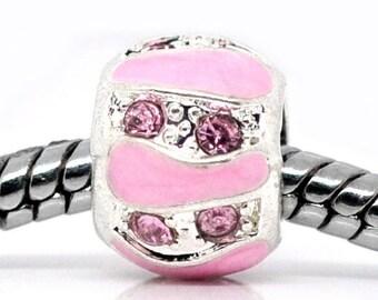 Pink Pearl rhinestone enamel