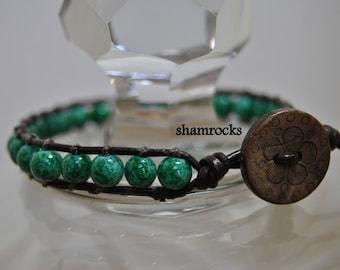 Mottled green bead leather wrap bracelet - Shamrocks - bohemian style bracelet, stack, bamboo button
