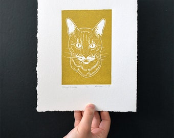 "Bengal Cat (Gold) - Linocut Print - 4x6"" - Limited Edition"