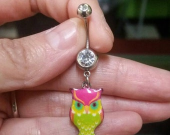 Pink Green Owl Belly Ring