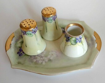 Salt, Pepper, Creamer Set / Unique Wedding Decor / Victorian Home Decor / Salt and Pepper Shakers / Cottage Home Decor / Floral Creamer Set