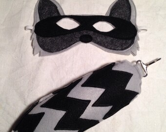 Felt Raccoon Mask and Tail set