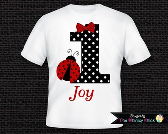 Ladybug Birthday T-Shirt or Bodysuit Personalized with ANY NUMBER