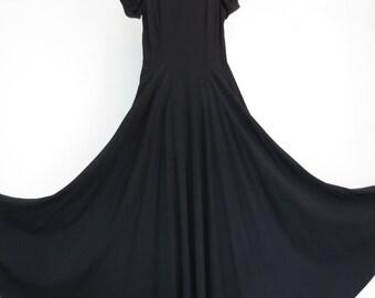 1930s Black Crepe Evening Dress With Full Skirt - Bust 86 cm