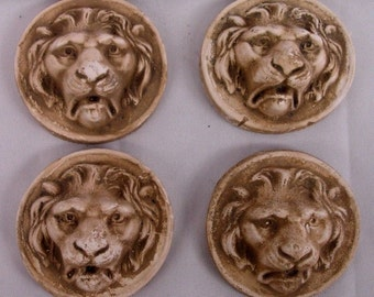 Set of 4 Lion Wall Plaque Wild Cat Animal Home Decor Antique finish