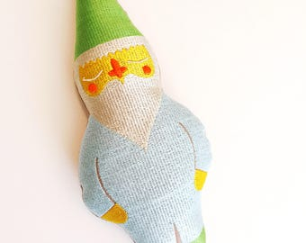 Jewel Toned Gnome in Green Hat, Oyster Beard Combo: Machine Embroidered Keepsake