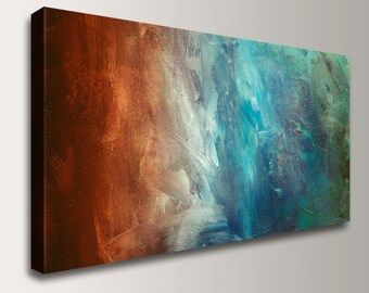 """Abstract Wall Art Canvas Print Home Decor Abstract Painting Gift for Friend Art Large Wall Art Rust and Turquoise Wall Decor """"Reflection"""""""