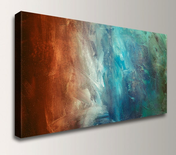 "Abstract Wall Art Canvas Print Home Decor Abstract Painting Gift for Friend Art Large Wall Art Rust and Turquoise Wall Decor ""Reflection"""