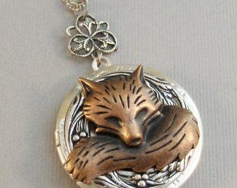 Little Red Fox,Locket,Fox,Fox Locket,Fox Necklace,Vixen, Antique Locket,Silver Locket,Fox Locket,Woodland,Woodland Fox. valleygirldesigns