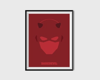 Daredevil Print - Minimalist, DC Comics, Comic Print, Superhero Wall Art