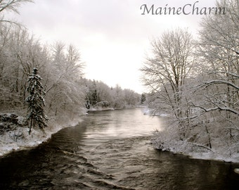 Winter River, Maine Winter Photography, Maine Woods, Maine River, Prints, Framed Maine Photography