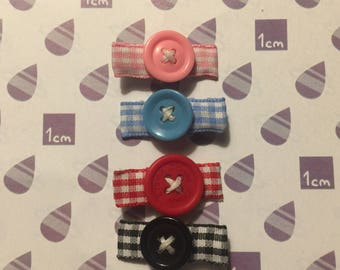 Set of Four Button Hair Clips
