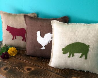 "13"" x 13"" Burlap Pillow w/ Farm Animals- Choose Your Colors-Choose Your Animal-Horse/Pig/Cow/Rooster/Sheep/Goose-Rustic Chic-Farmhouse Decor"