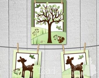 Set of 1, 11x14 and 2, 8x10 Meadow Deer Boys Girls Bedroom Baby Nursery ART PRINTS