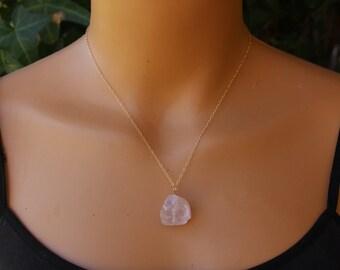 Raw Rose Quartz Necklace, Rose Quartz Pendant, Gold Fill, Sterling Silver, Dainty Necklace, Pink Gemstone, Minimalist Necklace, Delicate