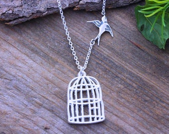 Silver bird cage Necklace, Be Free, Fly Free Bird Necklace, Lost Loved One-Silver Bird cage Necklace, Jewelry for a divorce, Cancer free