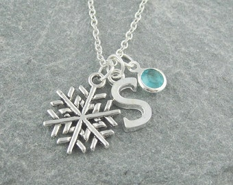 Snowflake necklace, silver snowflake pendant, initial necklace, swarovski birthstone, personalized jewelry, gift for her, snowflake jewelry
