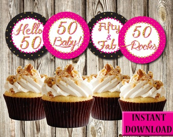 Cheerful 50th Birthday Cupcake Toppers, Dark Pink, Black and Gold, Labels, Party Favors, Printable, Instant Download, PDF and JPG