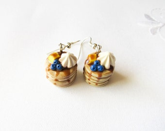 Blueberry Pancake Earrings, Food Earrings, Polymer Clay Earrings, Cute Earrings, Charm Earrings, Food Jewelry, Pancakes, Sweet Lolita
