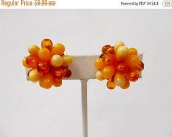 On Sale Vintage Hong Kong Orange Plastic Beaded Cluster Earrings Item K # 713