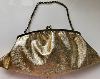 Vintage 1960's Gold Lame' Evening Bag