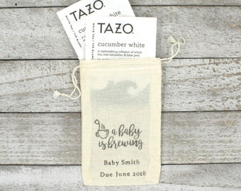 Personalized Baby Shower favor bags, set of 10 cloth favor bags, hand stamped favor, tea favor bags, A Baby is Brewing, cotton favor bag