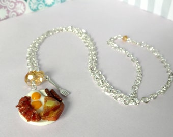 Bacon and Eggs Breakfast Plate Pendant Charm Necklace