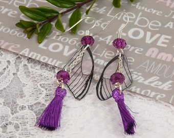 Purple Fairy wings and tassel earrings