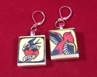Sailor Jerry inspired recycled Scrabble tile earrings