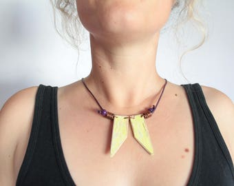 Lime Green Distressed Statement Necklace, Up-cycled Wood, Copper, Leather, Boho, Hippie Wear, Festival Wear, Tribal, Geometric, Jewellery