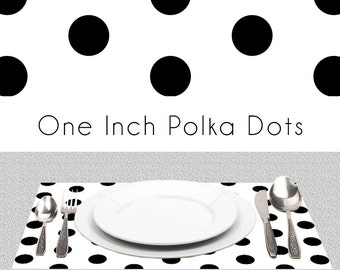 "Black White Polka Dots Paper Placemats | BW Placemats Book of 25 Sheets Card Stock | Size Is 17"" x 11"" inches Tear-Off Durable Paper Pad"