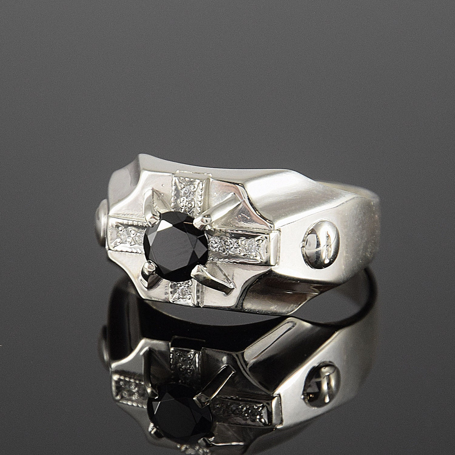 Men ring Signet ring Men ring silver Black stone ring Men