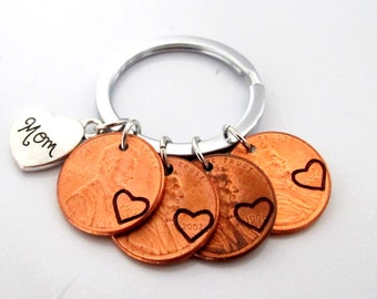 Mom Keychain,Mother's Day Gift,Gift from daughters,Mom Gift,Mom Birthday gift,Mom Penny Keychain,Gift for Mom,Mother gift, Free Shipping USA
