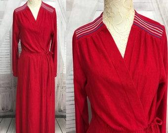 Vintage 60s Red Flannel Julie Girl Robe Full Length