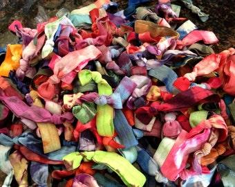 Set of 6 tie dye fold over elastic hair ties, mangobands, won't tear, tug, or kink your hair- READY TO SHIP