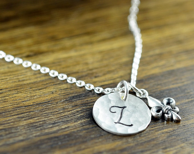 Silver Initial Necklace - Hand Stamped  Necklace -  Fleur de Lis Necklace - Initial Jewelry - Initial Necklace - Hand Stamped Initial