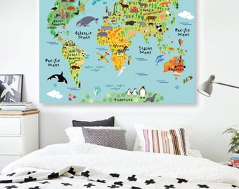 Huge map of the world playroom decal world map wall animals world map wall decal peel and stick poster animals wall decal world map gumiabroncs Images