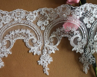 Off-white Alencon Lace Trim, Beautiful Sequined Trim, Bridal Veils Lace, Wedding Gown Lace Fabric by the yard