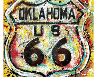 Get Your Kicks on Route 66 - 12 x 12 High Quality Pop Art Print