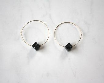 14k Gold fill hoop earrings with black marble bead
