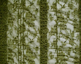 Lace fabric elastic 464368 in olive with sewn on sequins