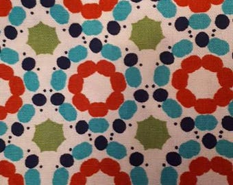 100% cotton fabric - round pattern - red green blue