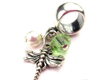 Dragonfly Charm for European Bracelet, Sterling Silver, Insect Jewelry, Bracelet Charm