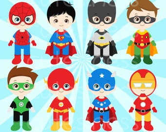 Superhero Clipart, Super Hero Clipart, Superhero Digital Clipart