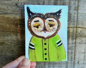Aceo original acrylic painting artist trading card Owl