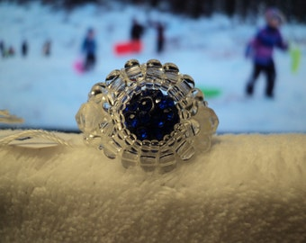 Ring, size 5, Sapphire Colored, Disco, Beaded , item#2024