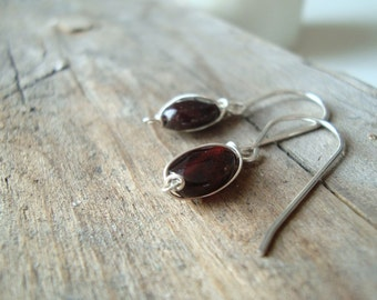 Tiny Garnet and Sterling Wire Wrapped Earrings January Birthstone Modern Small Dangles Gifts Under 30 Cranberry Red Gemstone Jewelry