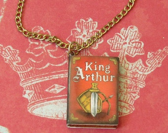 King Arthur Book Necklace *reading,fun jewelry,gift ideas,unique finds,book lovers,folklore,fantasy,classic literature,for teens,for her,red