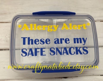 Food Allergy Divided Snack Container- Safe Snack Container- Food Allergy Alert- Yellow and Blue Vinyl