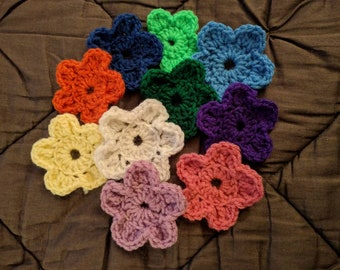 10 Crochet Flowers- Choose your colors- Made to Order